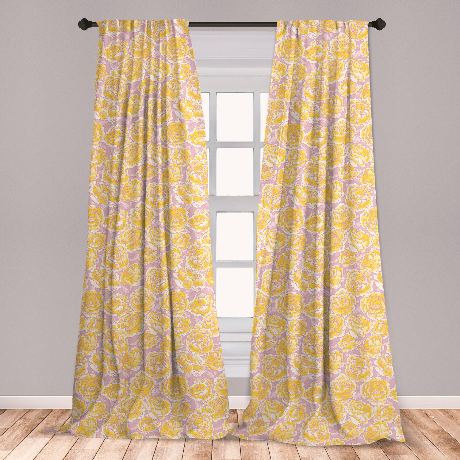 Ambesonne Flower Curtains, Hand Drawn Romantic Yellow Roses Blooming In  Spring Season Floral Arrangement, Window Treatments 2 Panel Set For Living  ...