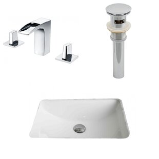 Affordable Price Ceramic Rectangular Undermount Bathroom Sink with Faucet and Overflow ByAmerican Imaginations