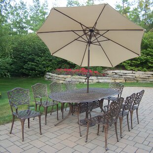Oakland Living Mississippi 9 Piece Dining Set with Umbrella