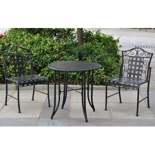 Darby Home Co Abbottsmoor Iron Patio 3 Piece Bistro Set