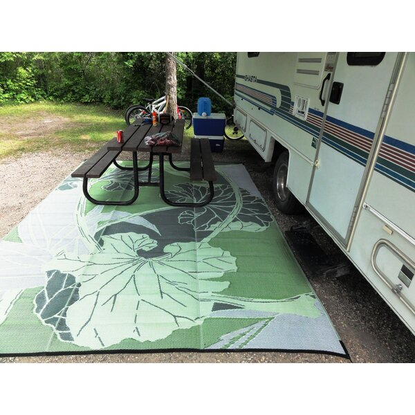 B B Begonia Blossom Rv Camping Patio Mat Green Grey Indoor Outdoor