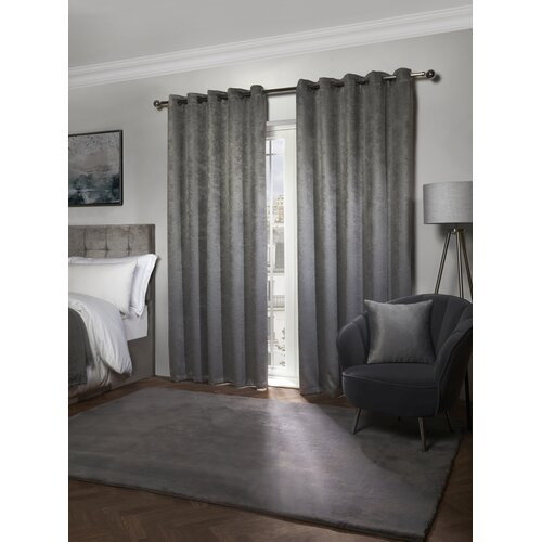 Vanhorne Ambiance Eyelet Blackout Thermal Curtain ClassicLiving Colour: Grey, Panel Size: 116 W x 137 D cm