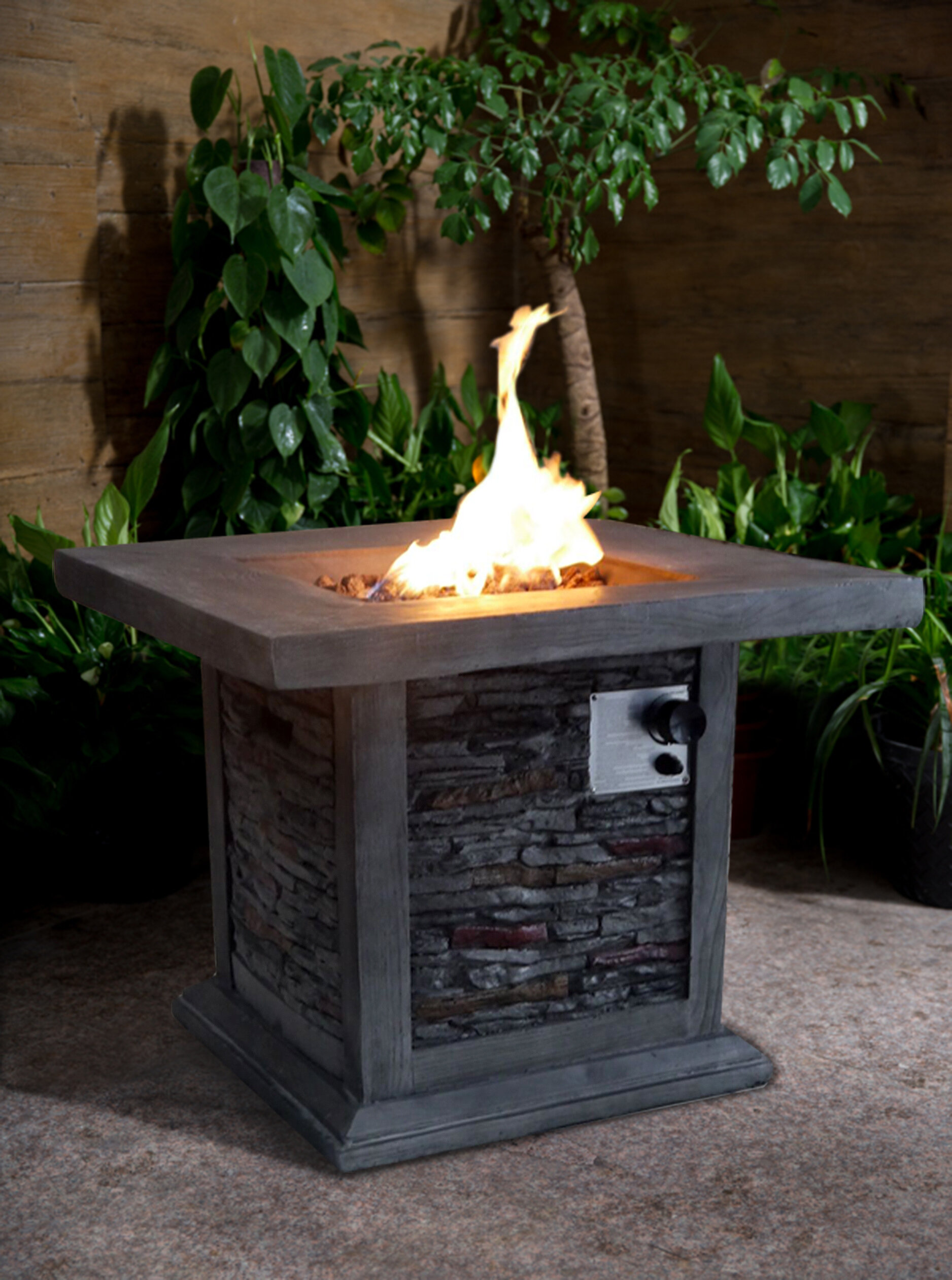Gracie oaks bettine stone propane fire pit table reviews wayfair