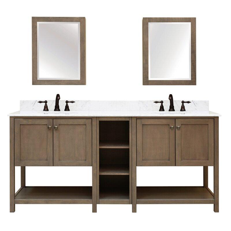 Sunny Wood Aiden Bath 2-Shelf Modular Component Double Bathroom ...