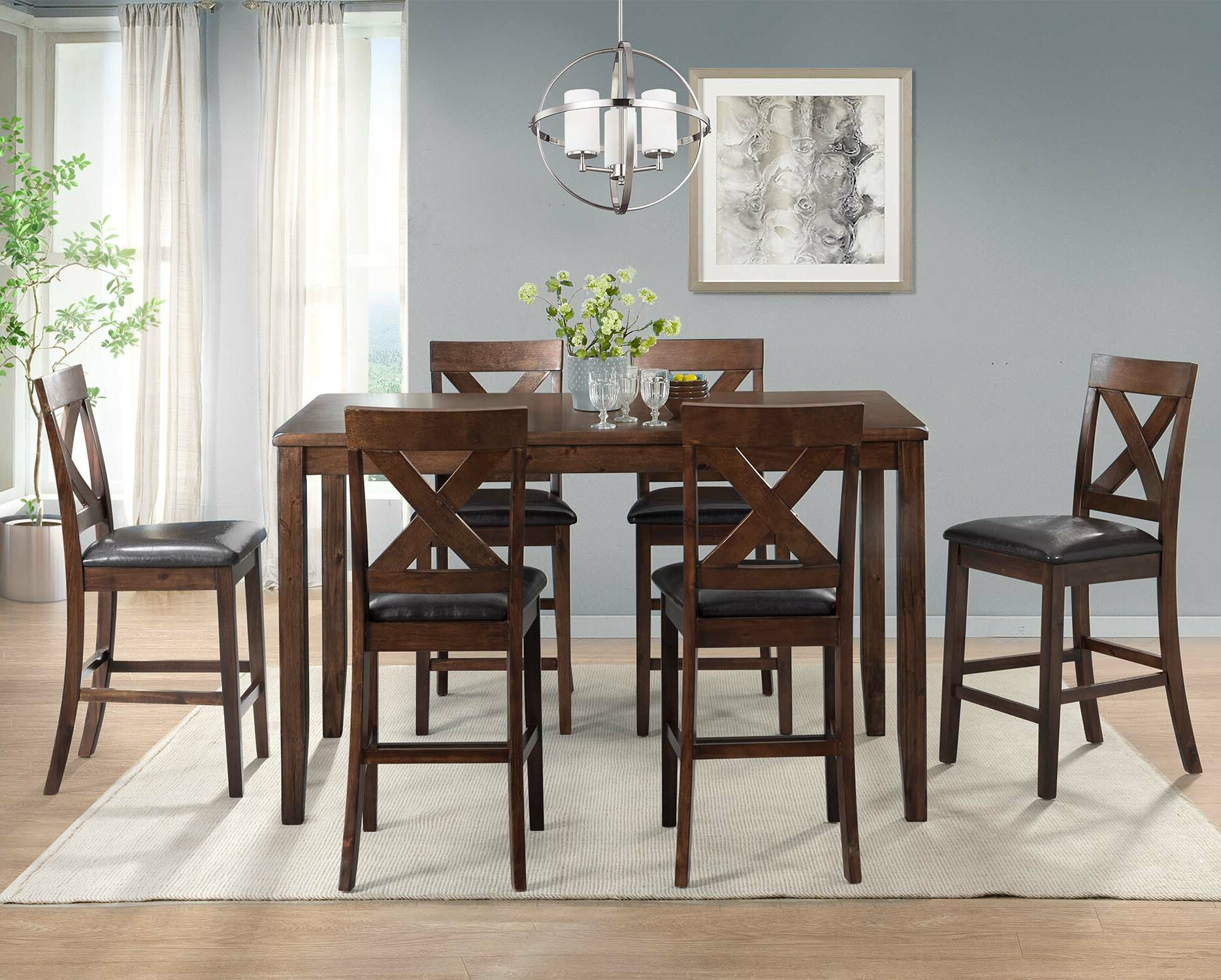 Darby Home Co Makaila 7 Piece Counter Height Dining Set U0026 Reviews | Wayfair