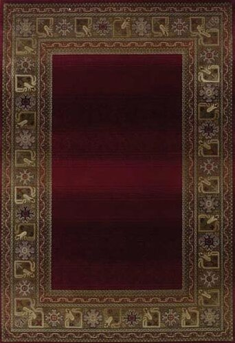 Alcott Hill Ferrer Power Loom Red/Gold Area Rug, Size: Rectangle 99 x 122