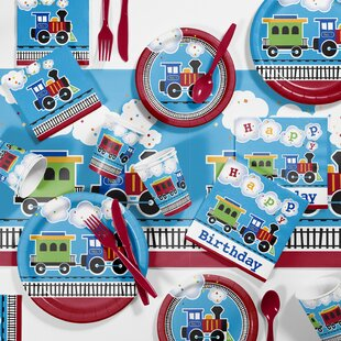81 Piece All Aboard Birthday Paper/Plastic Tableware Set
