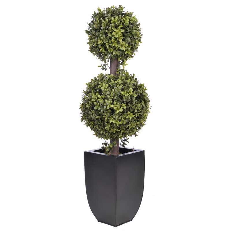 Wrought Studio  Artificial Double Ball Topiary in Planter