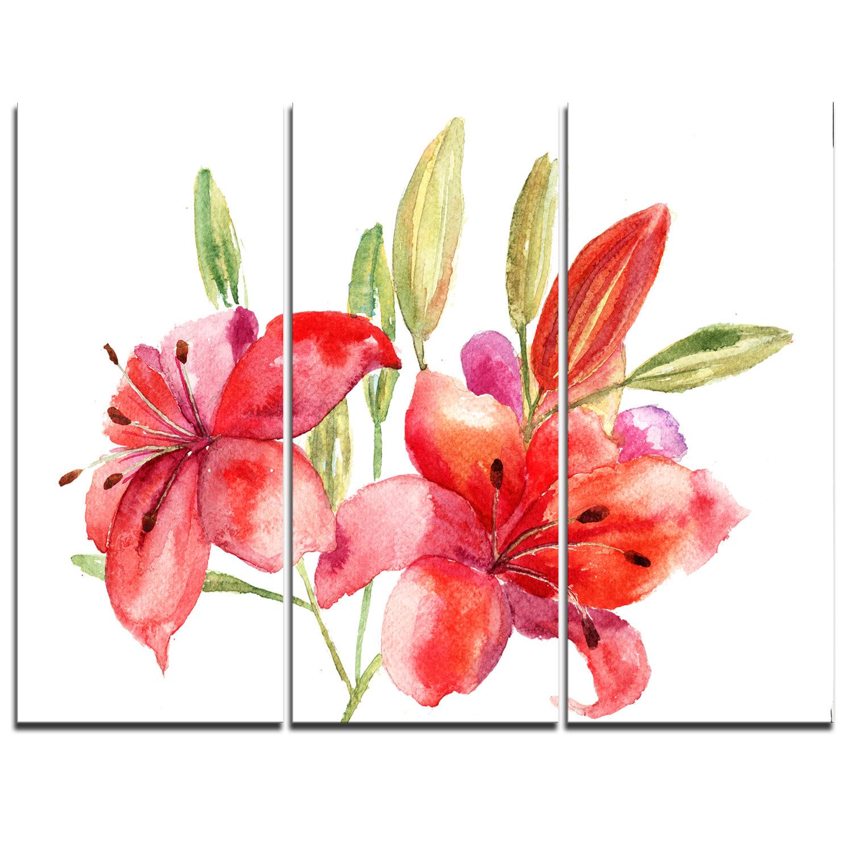Designart Lily Flowers Illustration 3 Piece Painting Print On