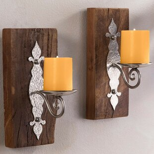 Merveilleux Antiqued Iron Reclaimed Wood Wall Sconce (Set Of 2)