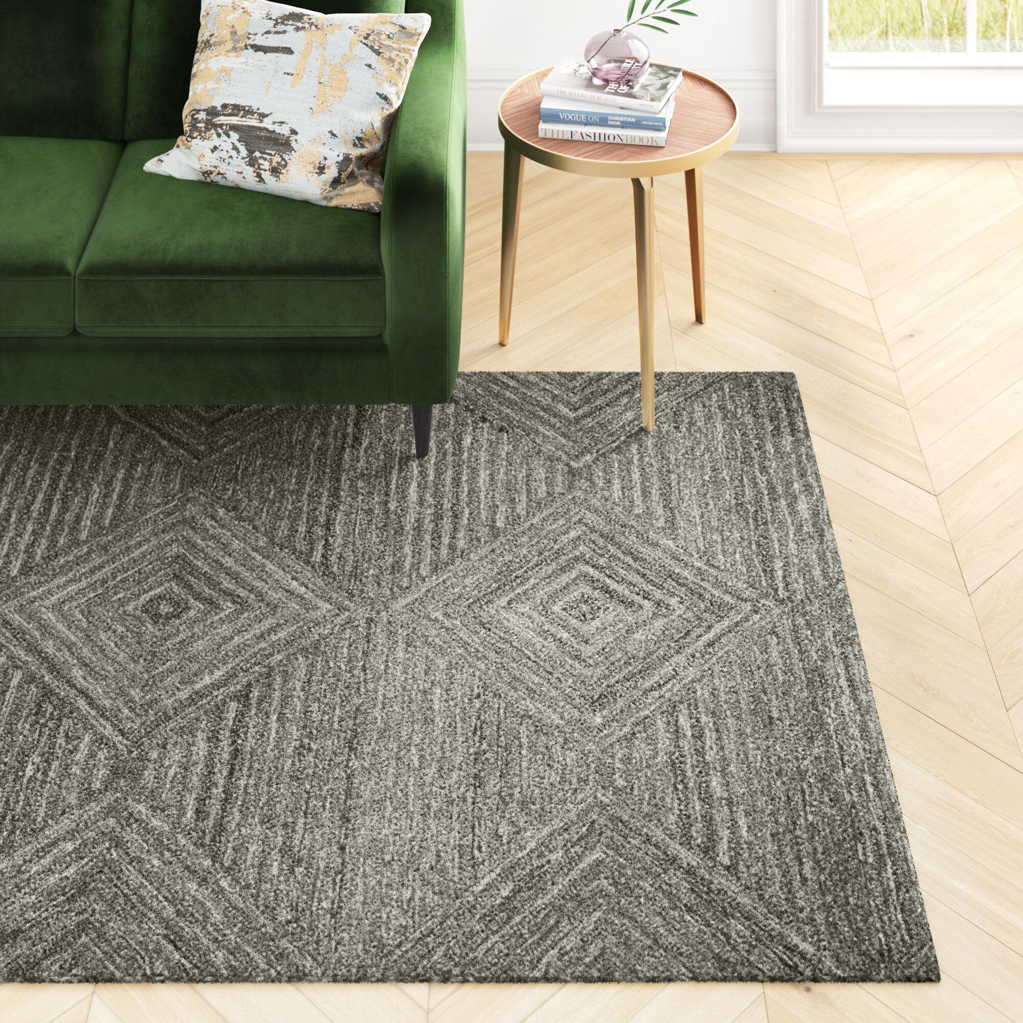 Allmodern Caper Geometric Hand Tufted Wool Gray Area Rug Reviews Wayfair
