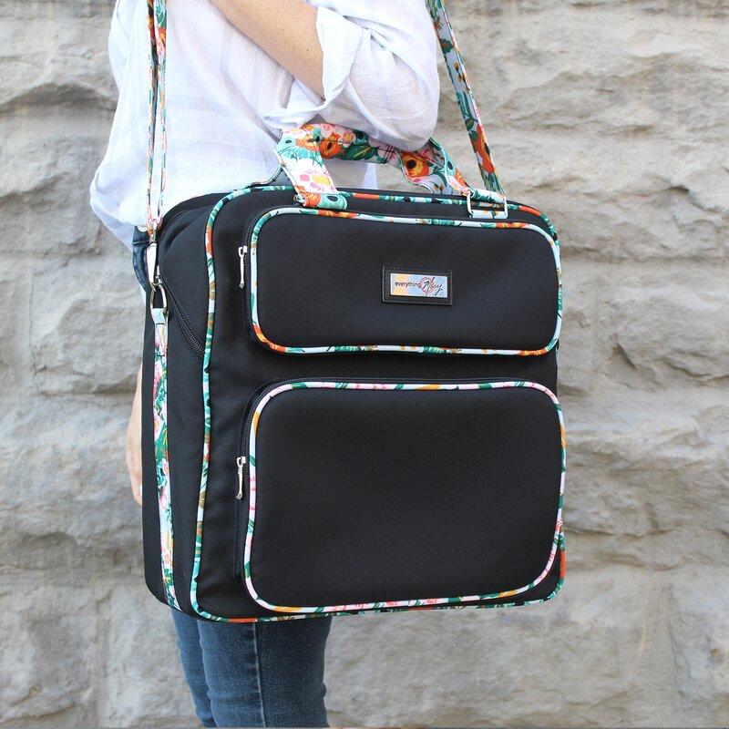 Craft Bag Everything Mary Deluxe Black /& Floral Scrapbook Carrying Storage Tote