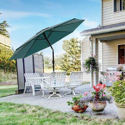 Solar Powered LED Patio Umbrella Pure Garden Fabric Color: Green