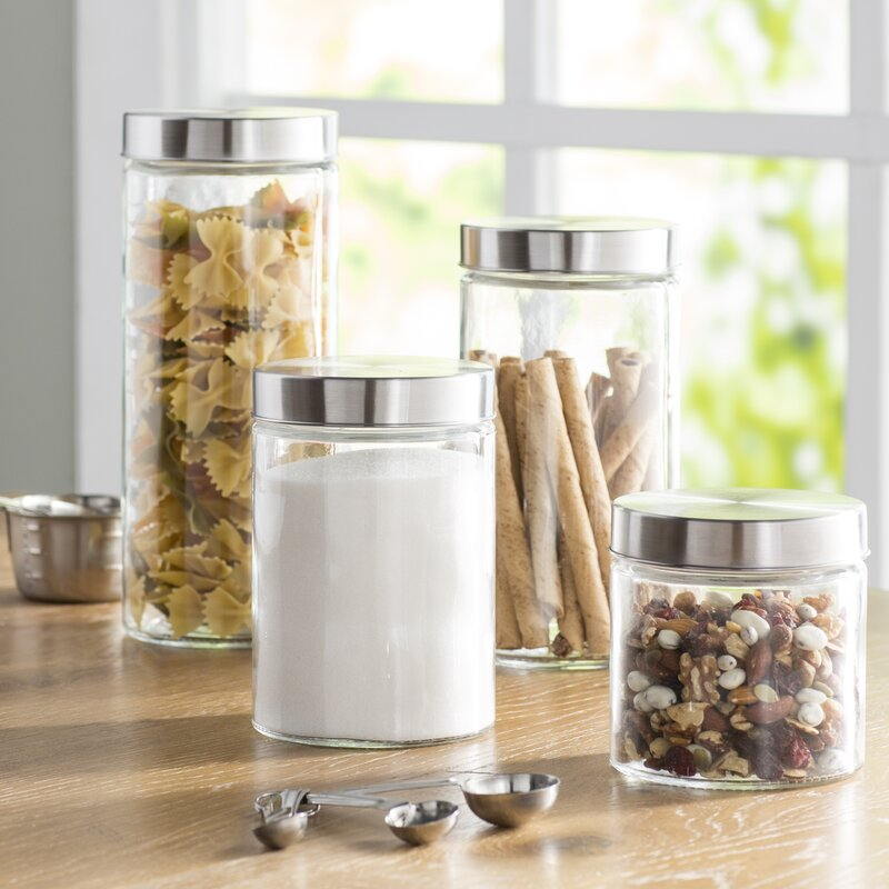 Wayfair Basics 4-Piece Round Screw Top Glass Kitchen Canister Set