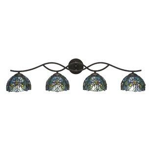 Red Barrel Studio Hiroko 4-Light Cypress Tiffany Glass Shade Vanity Light