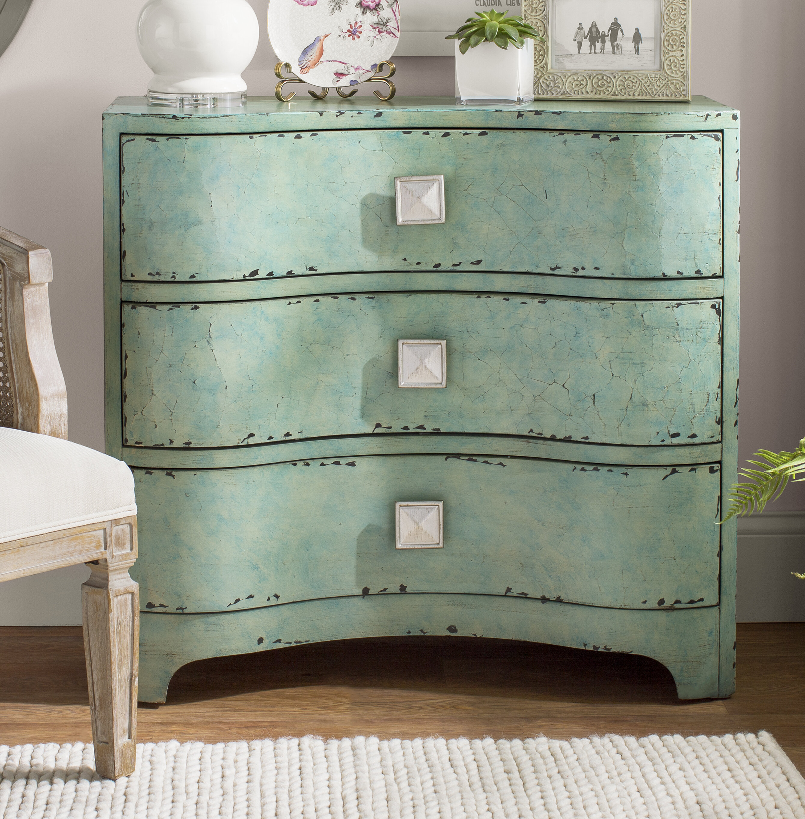 Mendon Port Crackle Bombe 3 Drawers Accent Chest