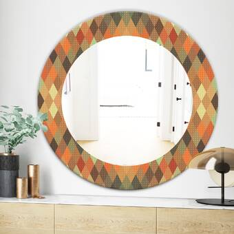 East Urban Home Abstract Marbled Background Quatrefoil Eclectic Frameless Wall Mirror