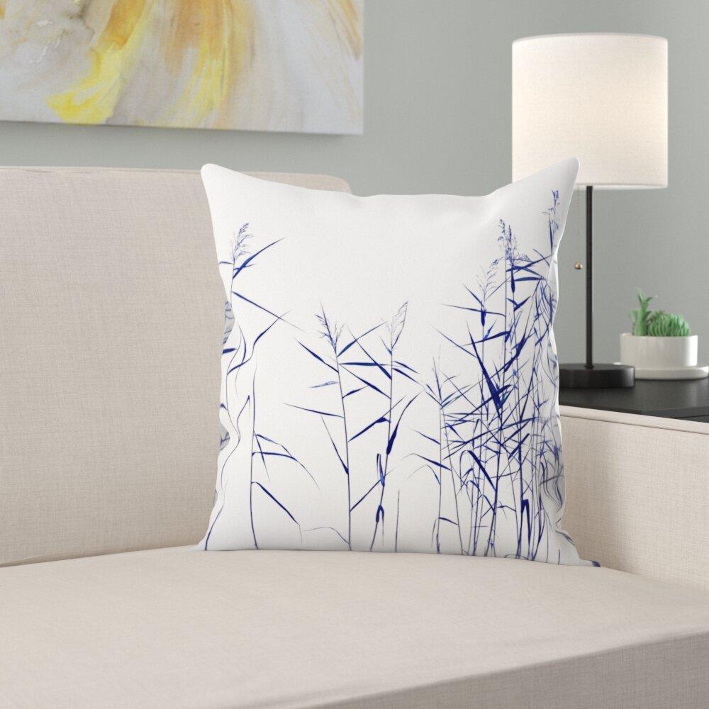 East Urban Home Blue Reeds On White Throw Pillow Wayfair