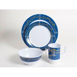 Decorated Anchorline Melamine 16 Piece Dinnerware Set Service for 4  sc 1 st  Wayfair & Melamine Nautical Dinnerware | Wayfair