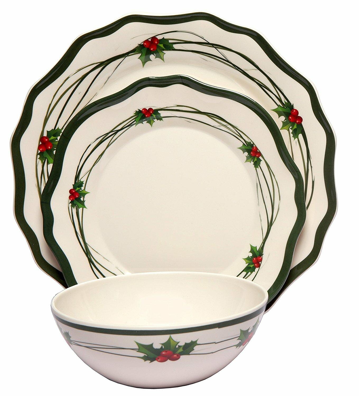 Melange Christmas Berry Melamine 12 Piece Dinnerware Set Wayfair