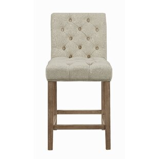 Gracie Oaks Stoffel Upholstered Counter Stools Beige and Driftwood (Set of 2) (Set of 2)