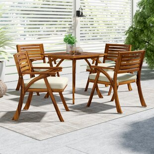 Mercury Row Ajax 5 Piece Dining Set with Cushions