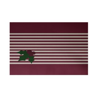 Holly Stripe Decorative Holiday Stripe Print Indoor/Outdoor Rug Cranberry Burgundy Indoor/Outdoor Area Rug ByThe Holiday Aisle