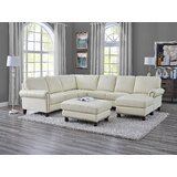 Jamil 121 Genuine Leather Left Hand Facing Large Sectional with Ottoman by Canora Grey