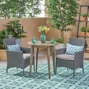 BolebrokeOutdoor 3 Piece Bistro Set with Cushions by Bungalow Rose