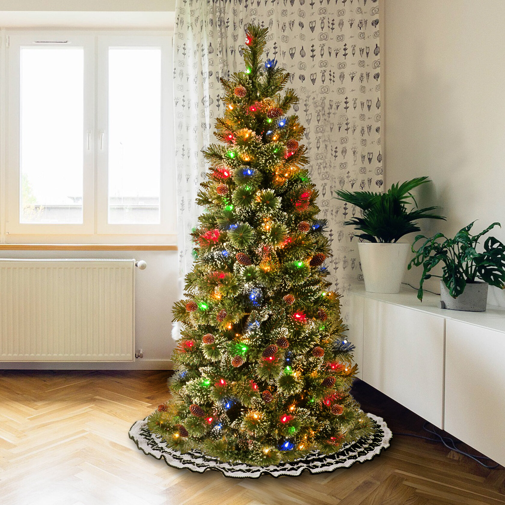 Alcott Hill Glittery Bristle 5 Green Pine Artificial Christmas Tree With 150 Multi Color Lights Wayfair