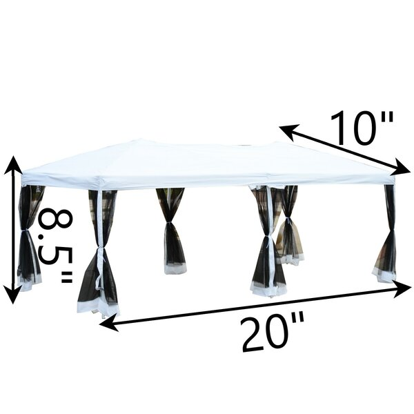 Outsunny 20 Ft W X 10 Ft D Steel Pop Up Party Tent Canopy Reviews Wayfair