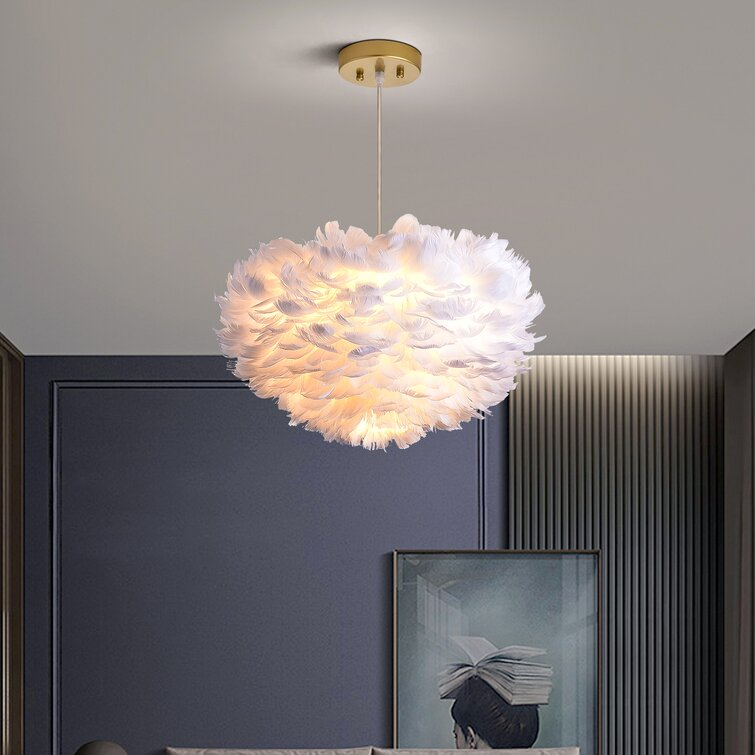 Alexander-James 3 - Light Shaded Globe Chandelier with Feather Accents