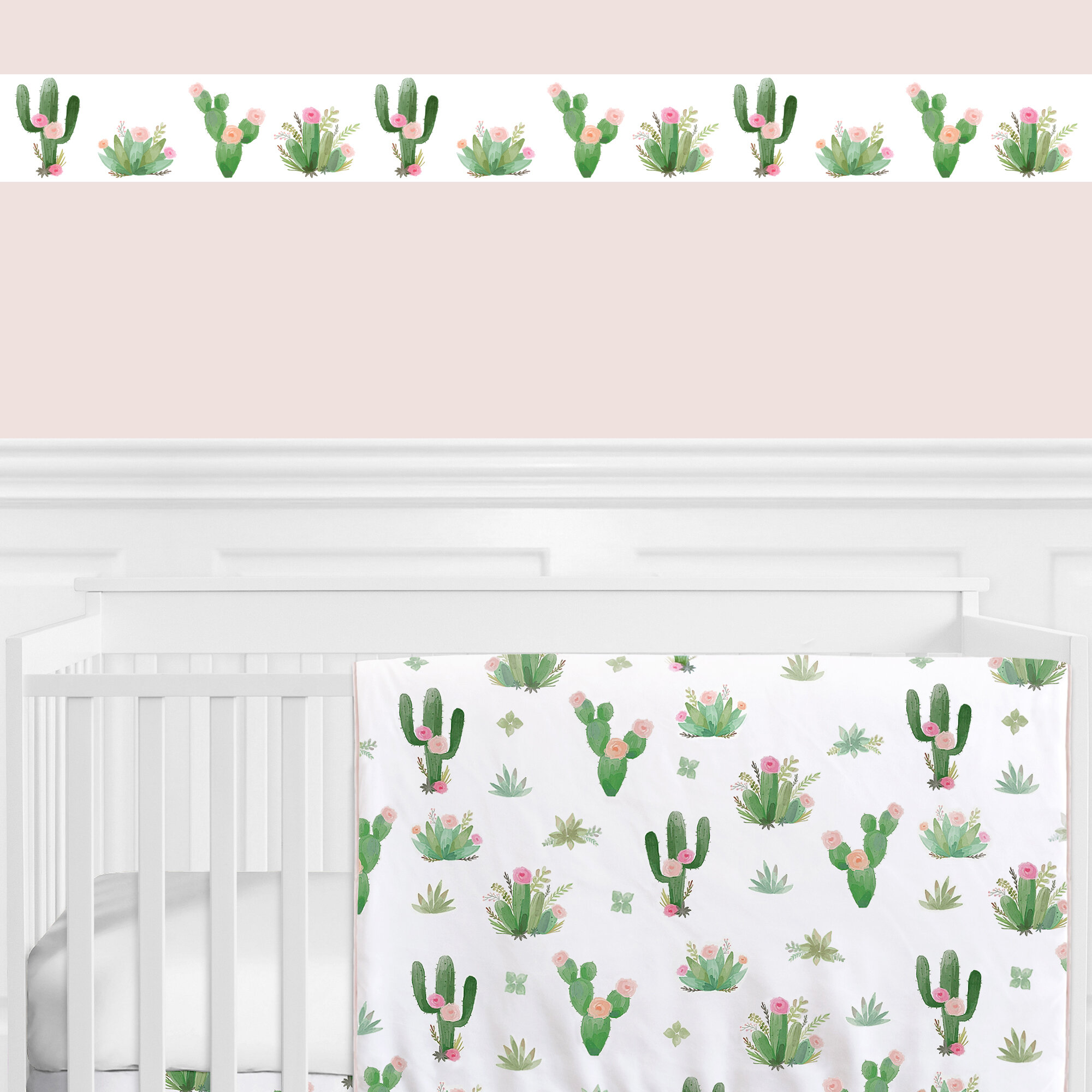 Sweet Jojo Designs Cactus Floral 15 L X 6 W Wallpaper Border