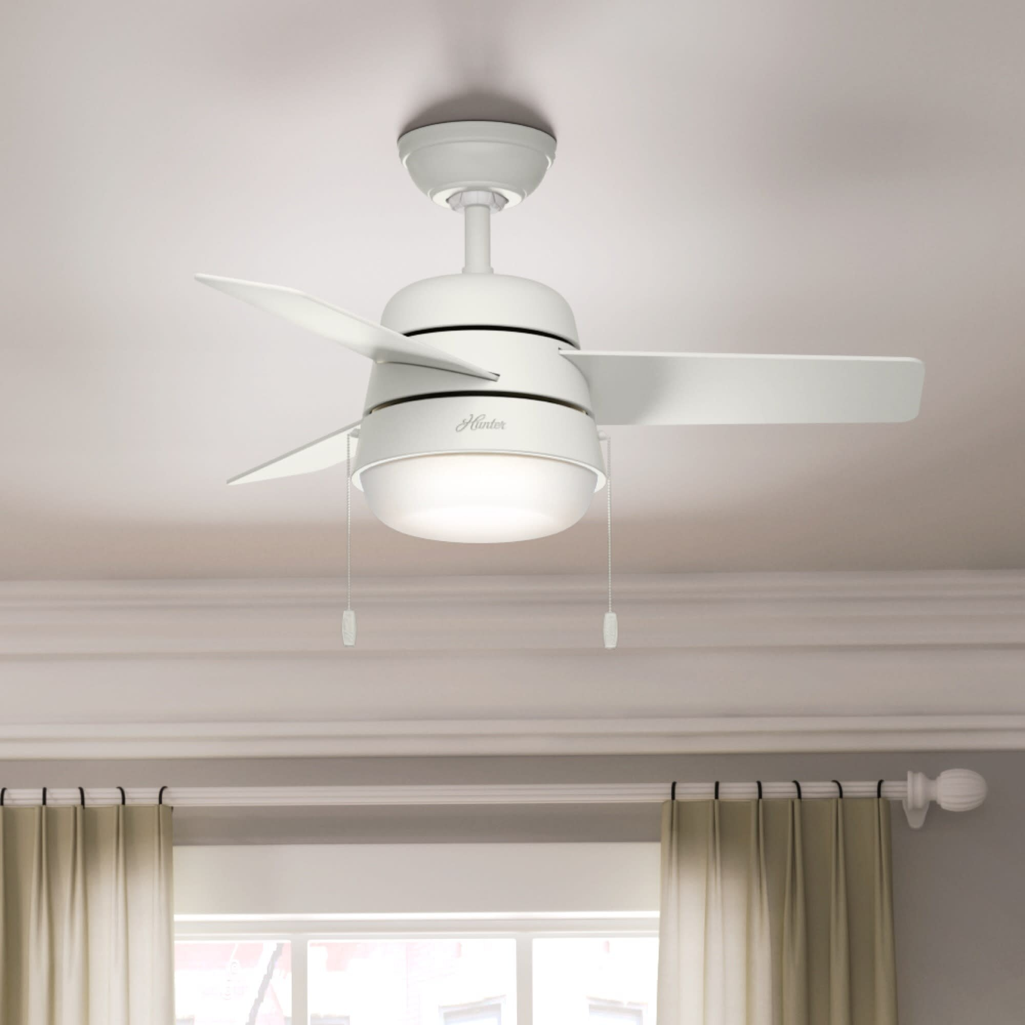 Hunter Fan 36 Aker 3 Blade Led Standard Ceiling Fan With Pull Chain And Light Kit Included Reviews Wayfair