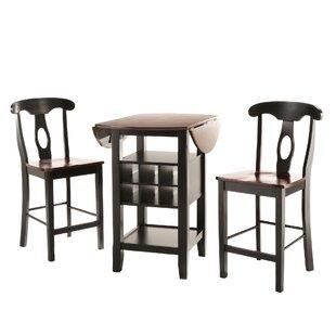 Teneyck 3 Piece Counter Height Pub Table Set