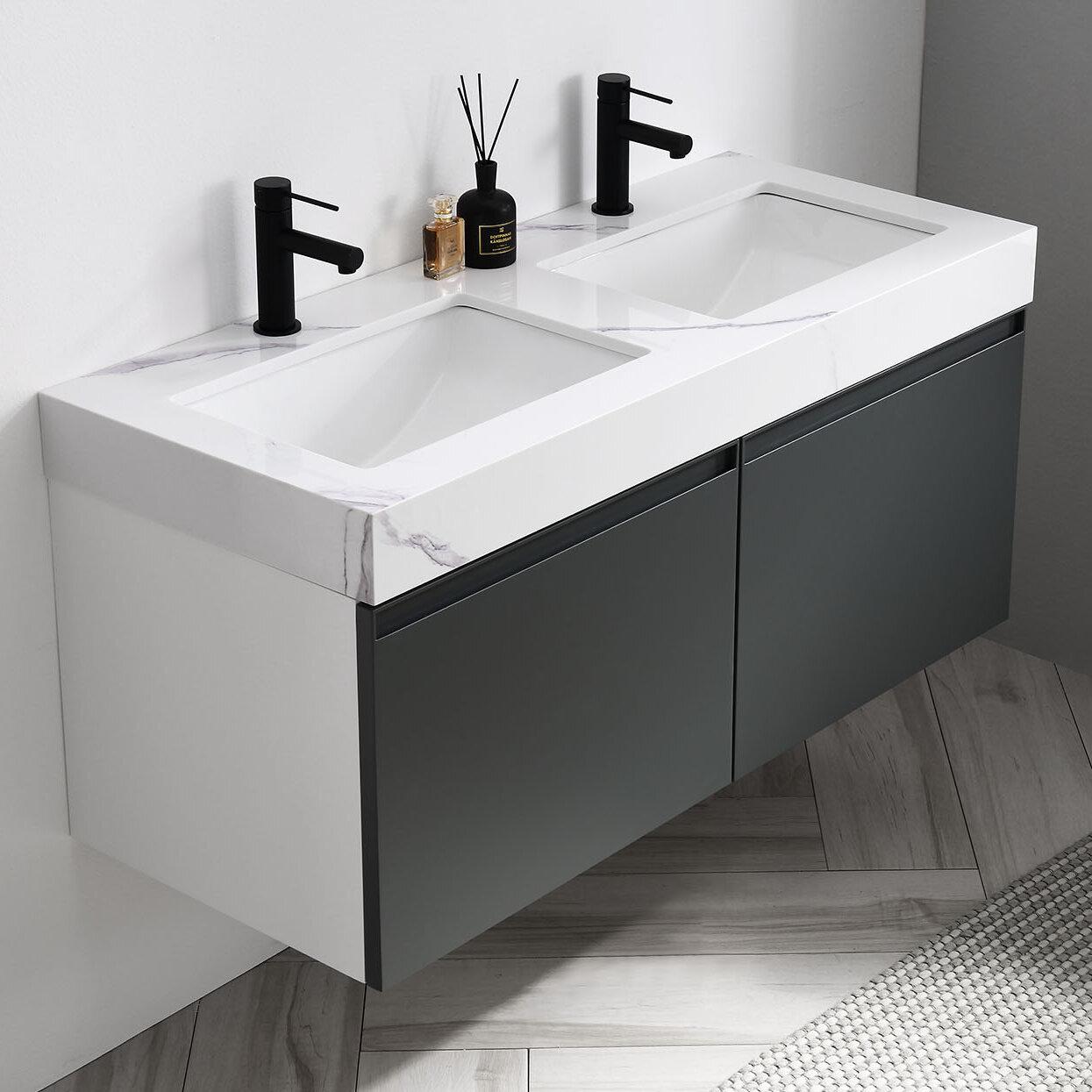 Wrought Studio Zayden 48 Wall Mounted Double Bathroom Vanity Set Reviews Wayfair