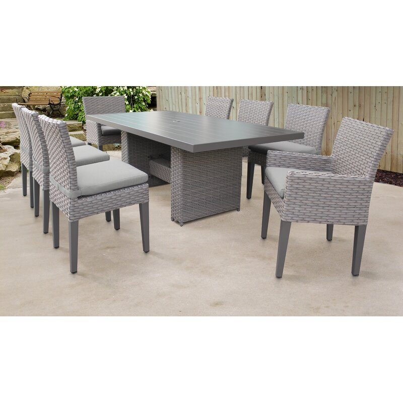 Sol 72 Outdoor Rochford 9 Piece Outdoor Patio Dining Set with Cushions  Cushion Color: Gray
