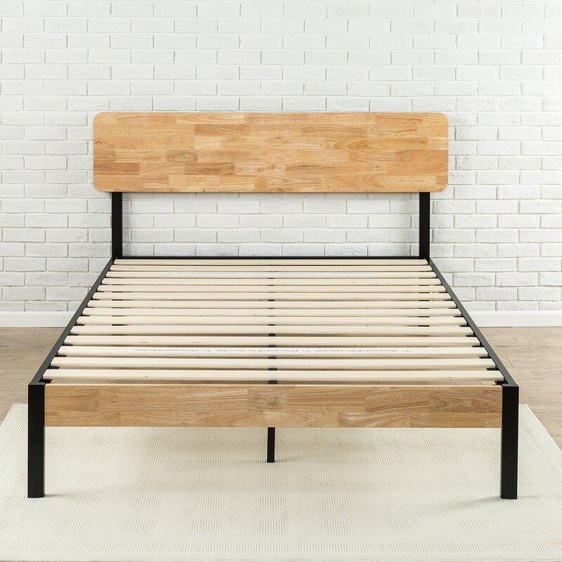 Metal And Wood Bed Frames zinus tuscan metal/wood platform bed & reviews | wayfair