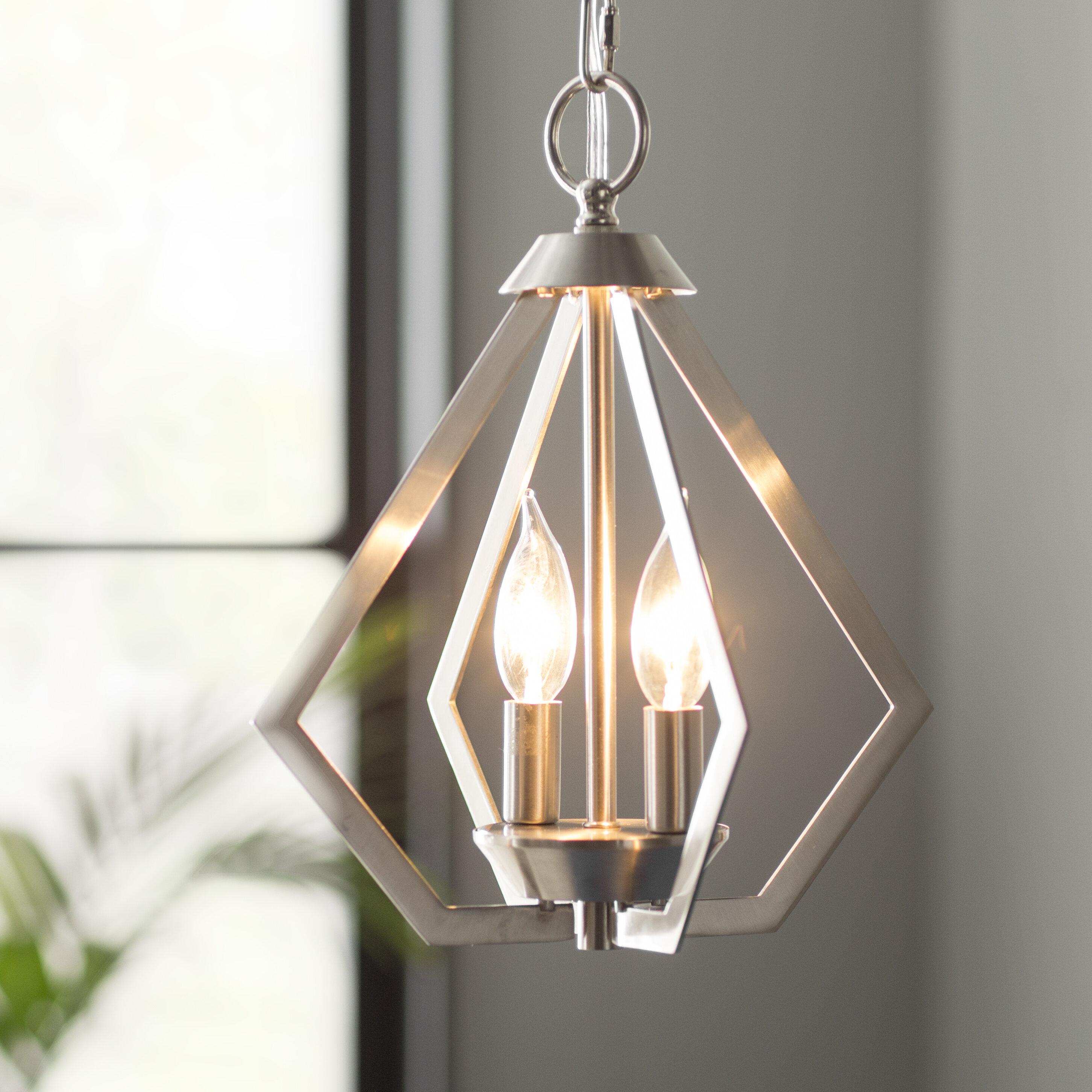 Willa Arlo Interiors Borasisi 2 Light Lantern Geometric Pendant Reviews Wayfair