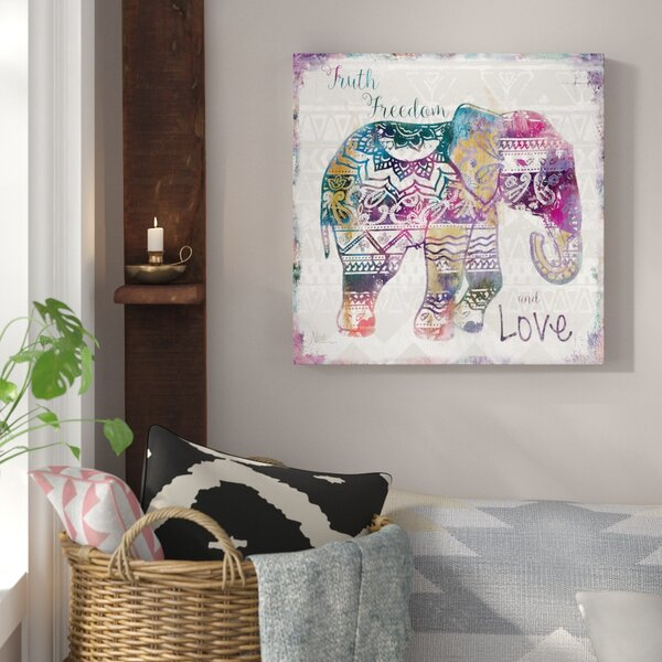'Boho Elephant' wall  decor Art on Wrapped Canvas | Animal Wall Decor