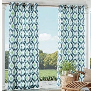 Charming Barbados Ikat Room Darkening Grommet Single Curtain Panel