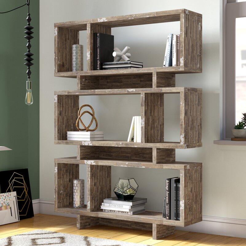 Brayden Studio Weon Geometric Bookcase & Reviews | Wayfair