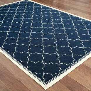 Salerno Simple Lattice Navy Indoor/Outdoor Area Rug