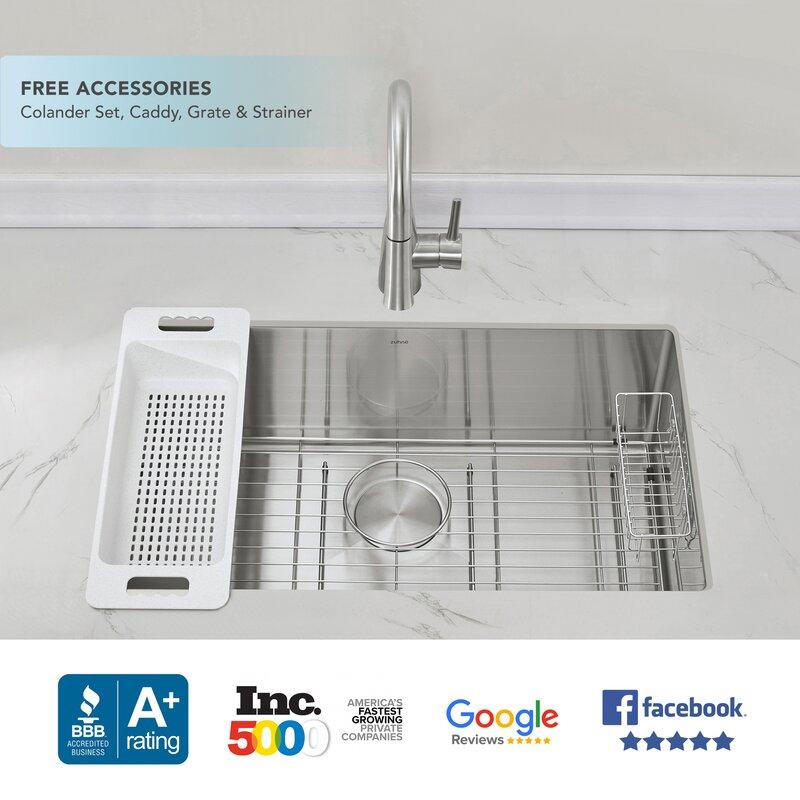 Zuhne 28 L X 19 W Undermount Kitchen Sink With Basket Strainer Wayfair