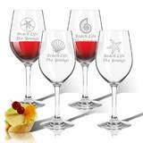 Personalized Shell 4-Piece 12 oz. Plastic All Purpose Wine Glass Set by Carved Solutions