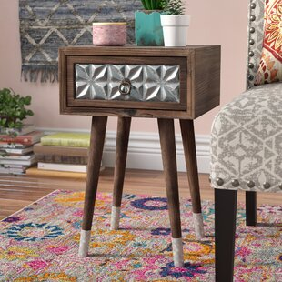 Hendrix 1 Drawer Wood Iron End Table by Bungalow Rose