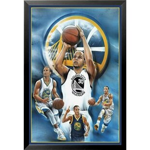 'Stephen Curry - Collage Shooting' Framed Acrylic Painting Print on Paper by Buy Art For Less