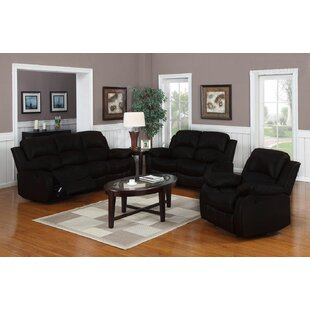 Worthing Classic Reclining 3 Piece Leather Living Room Set