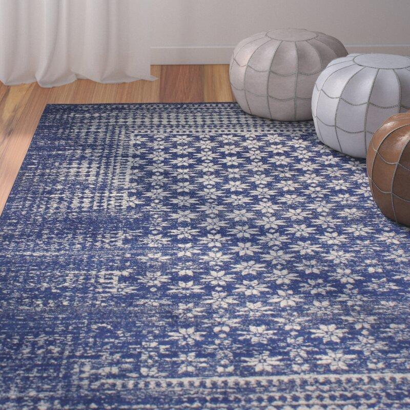 woodrow machine woven dark blue area rug