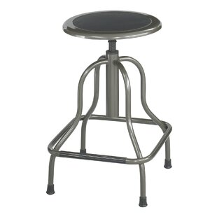 Safco Diesel Series Backless Industrial Stool, High Base, Pewter Leather Seat